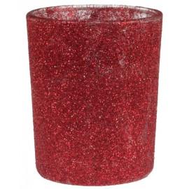 Photophore pailleté rouge en verre les 12