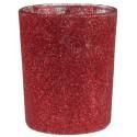 Photophores pailletés rouges en verre les 12