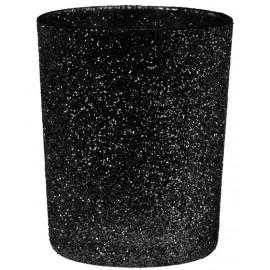 Photophore pailleté noir en verre les 12