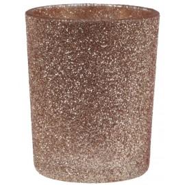 Photophore pailleté cuivre en verre les 12