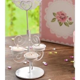 Porte bougies coeur blanc en métal