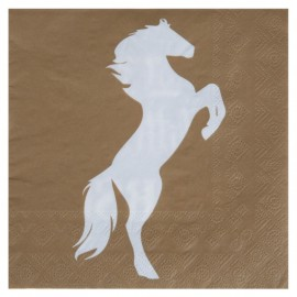 Serviette de table équitation kraft naturel papier les 20