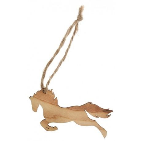 Etiquette cheval en bois avec cordon les 6