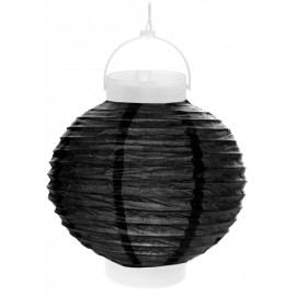 Lampion lumineux boule papier noir 20 cm