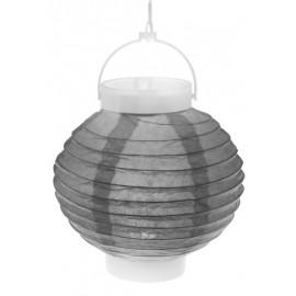 Lampion lumineux boule papier gris 20 cm