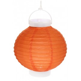 Lampion lumineux boule papier orange 20 cm
