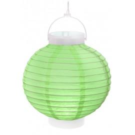 Lampion lumineux boule papier vert 20 cm