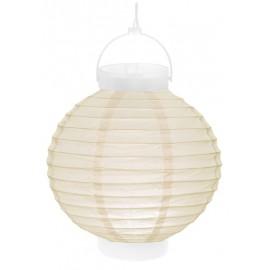 Lampion lumineux boule papier ivoire 20 cm