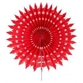 Eventail dentelle papier rouge 20 cm les 2