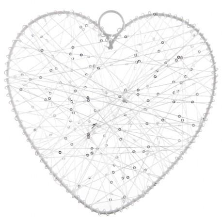 Coeur de fil blanc 20 cm