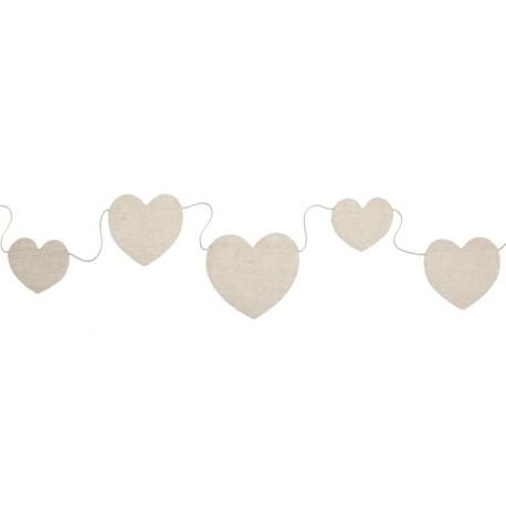 Guirlande coeur coton naturel 150 cm