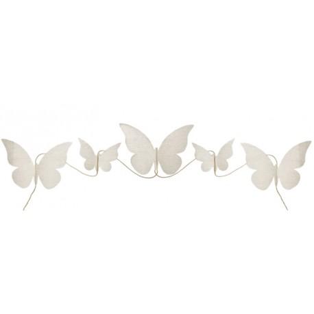 Guirlande papillon coton naturel 150 cm