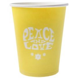 Gobelet carton hippie jaune les 10