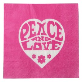 Serviette de table hippie fuchsia papier les 20