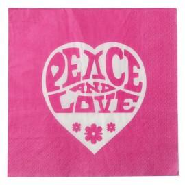 Serviette de table hippie fuchsia papier les 20