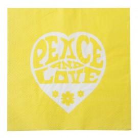 Serviette de table hippie jaune papier les 20