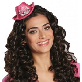 Mini chapeau cowboy rose femme