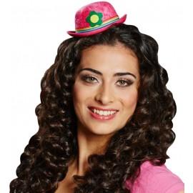 Mini chapeau melon rose femme