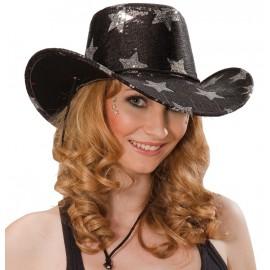 Chapeau cowboy noir étoiles argent adulte