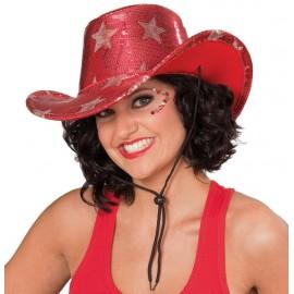 Chapeau cowboy rouge étoiles argent adulte