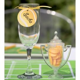 Etiquettes balle de tennis en carton avec ruban les 12