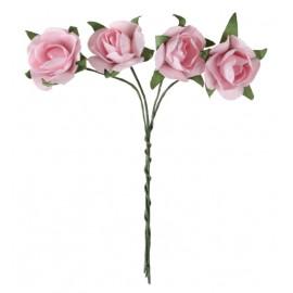 Mini roses roses en papier sur tige les 20