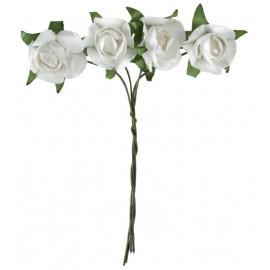 Mini rose blanche en papier sur tige les 20