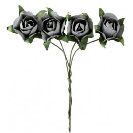 Mini roses grises en papier sur tige les 20