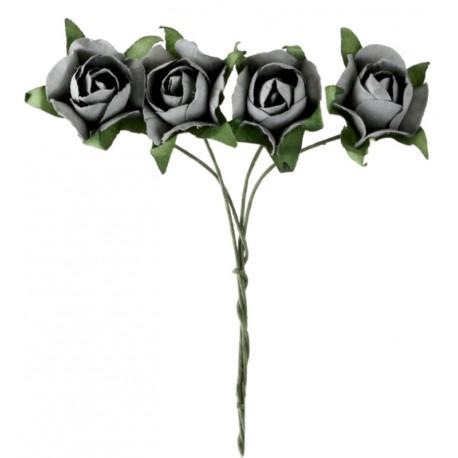 Mini rose grise en papier sur tige les 20