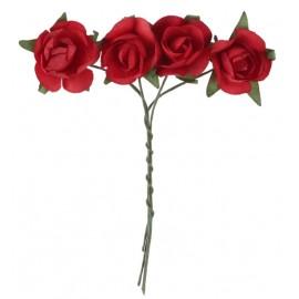 Mini roses rouges en papier sur tige les 20