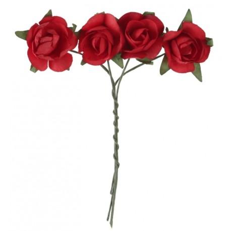 Mini rose rouge en papier sur tige les 20