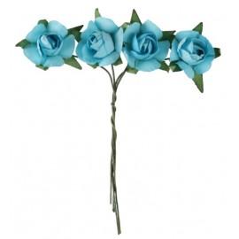 Mini roses turquoise en papier sur tige les 20