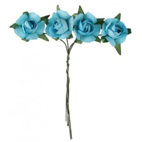 Mini rose turquoise en papier sur tige les 20