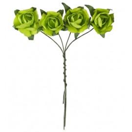 Mini rose vert anis en papier sur tige les 20