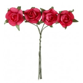 Mini roses fuchsia en papier sur tige les 20