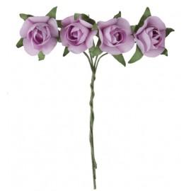Mini roses parme en papier sur tige les 20