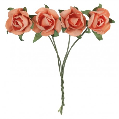 Mini rose corail en papier sur tige les 20