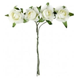 Mini rose ivoire en papier sur tige les 20