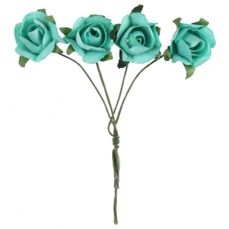 Mini rose menthe en papier sur tige les 20