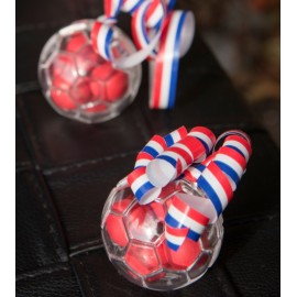 Boule à dragées ballon de foot plexi transparent 5 cm les 3