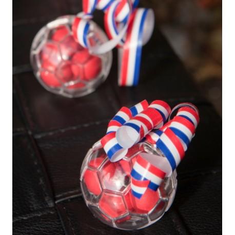 Boule à dragées ballon de foot plexi transparent 5 cm les 3