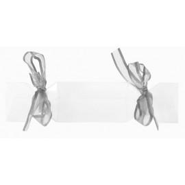 Boîte à dragées bonbon transparent ruban gris les 4