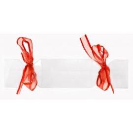 Boîte à dragées bonbon transparent ruban rouge les 4