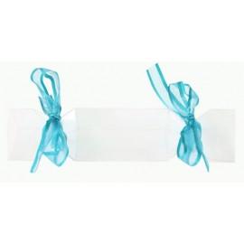 Boîte à dragées bonbon transparent ruban turquoise les 4