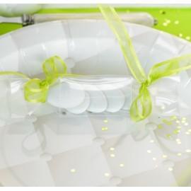 Boîte à dragées bonbon transparent ruban vert anis les 4