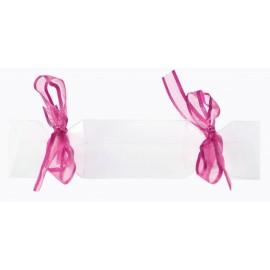 Boîte à dragées bonbon transparent ruban fuchsia les 4