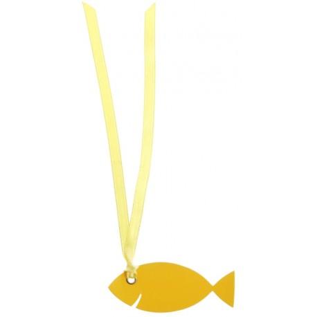 Étiquette poisson jaune carton avec ruban les 12