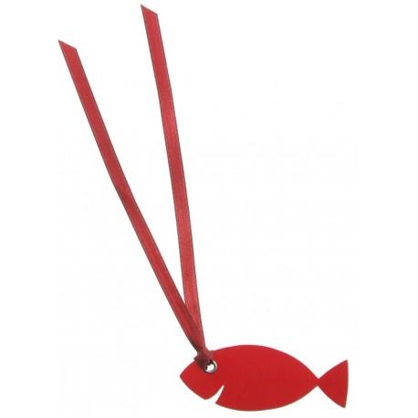 Étiquette poisson rouge carton avec ruban les 12