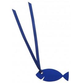 Étiquettes poisson bleu carton avec ruban les 12