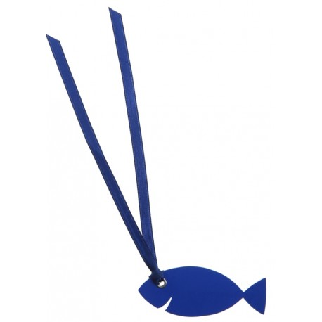 Étiquette poisson bleu carton avec ruban les 12